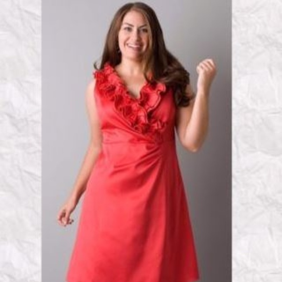 87eaf095a25 Lane Bryant Formal Red Ruffle Sleeveless Dress NWT